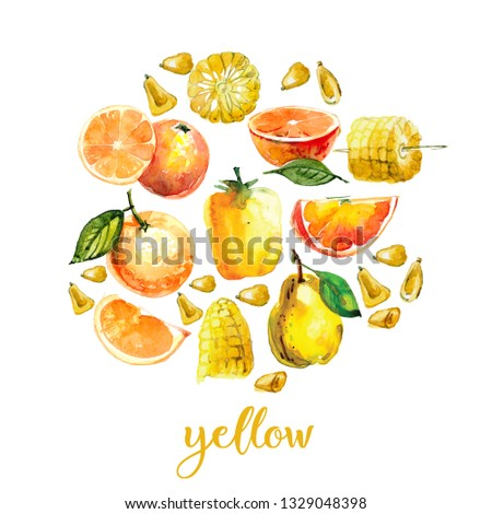 watercolor illustration with yellow fruits and vegetables. orange, in a cut, peach, Salak, sweet pepper, corn on a white background. #1329048398