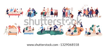 Collection of grandparents spending time with relatives - walking, reading books, riding bicycles, celebrating birthday, buying food, cooking, planting trees. Flat cartoon vector illustration. #1329068558