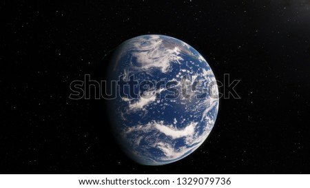 Planet Earth from space 3D illustration orbital view, our planet from the orbit, world, ocean, atmosphere, land, clouds, globe (Elements of this image furnished by NASA) #1329079736