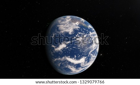 Planet Earth from space 3D illustration orbital view, our planet from the orbit, world, ocean, atmosphere, land, clouds, globe (Elements of this image furnished by NASA) #1329079766