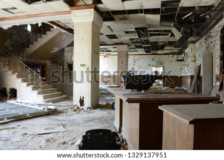 Lobby of Abandoned Office Building In Detroit #1329137951