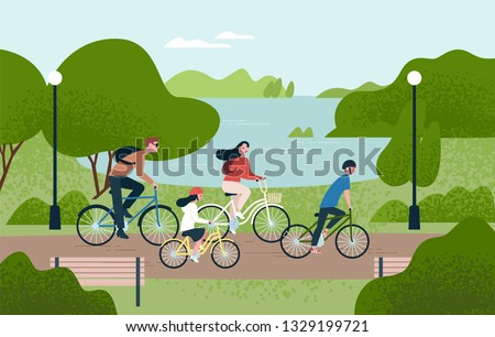 Cute family riding bicycles. Mom, dad and children on bikes at park. Parents and kids cycling together. Sports and leisure outdoor activity. Colorful vector illustration in flat cartoon style.