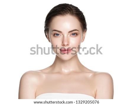 Beautiful skin and healthy hair woman clean natural makeup isolated on white cosmetic concept #1329205076