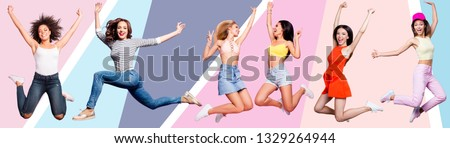 Full length body size portrait nice cute cool attractive cheerful she her ladies flying in air mixed six together in one illustration sport life placard idea concept isolated colored background #1329264944
