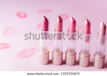 lipstick on pink background #1329336875
