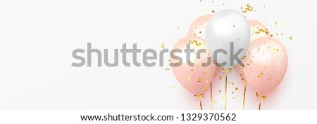Background with festive realistic balloons with ribbon. Celebration design with baloon, color pink and white, studded with gold sparkles and glitter confetti. Celebrate birthday template Royalty-Free Stock Photo #1329370562