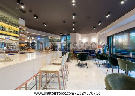 Modern cafe bar interior background #1329378716