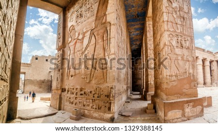 Temple of Medinet Habu. Egypt, Luxor. The Mortuary Temple of Ramesses III at Medinet Habu is an important New Kingdom period structure in the West Bank of Luxor in Egypt #1329388145