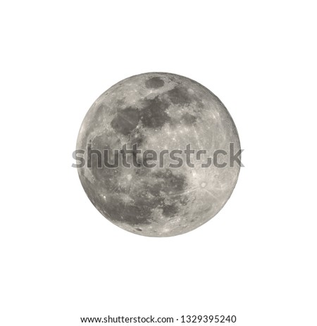 Full moon closeup from northern hemisphere - Isolated on white Royalty-Free Stock Photo #1329395240