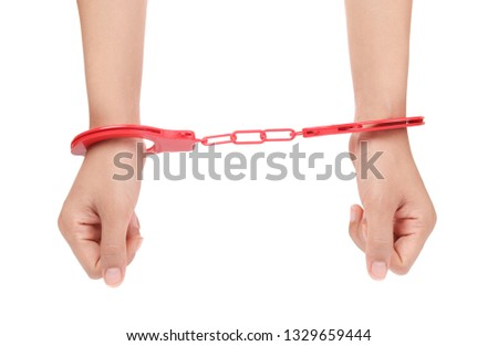 Human hands in handcuffs Isolated on white  background #1329659444