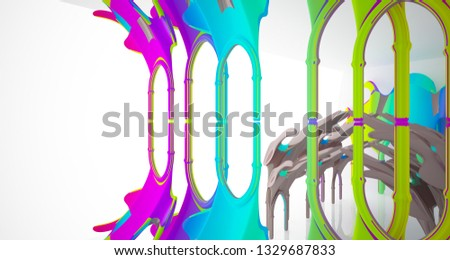 Abstract white and colored gradient  gothic interior. 3D illustration and rendering. #1329687833