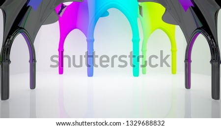 Abstract white and colored gradient  gothic interior. 3D illustration and rendering. #1329688832