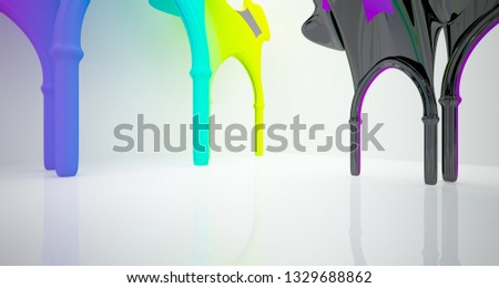 Abstract white and colored gradient  gothic interior. 3D illustration and rendering. #1329688862