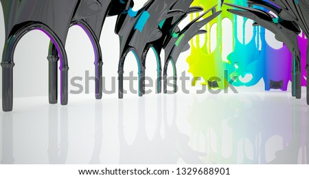 Abstract white and colored gradient  gothic interior. 3D illustration and rendering. #1329688901
