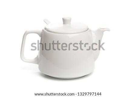 white teapot isolated on white background- Image #1329797144