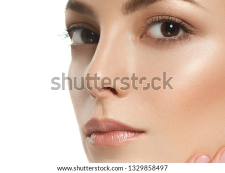 Skin face woman closeup macro face portrait isolated on white healthy  natural makeup #1329858497