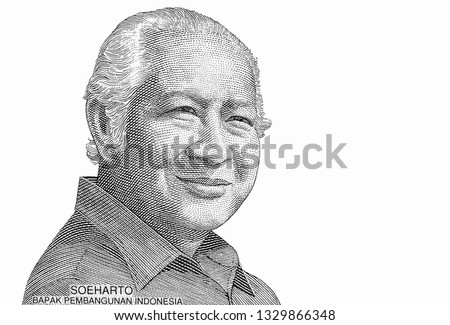 Suharto who was the second President of Indonesia, Portrait from Indonesia 50000 Rupiah Banknotes. An Old paper banknote, vintage retro. Famous ancient Banknotes. Collection.   #1329866348