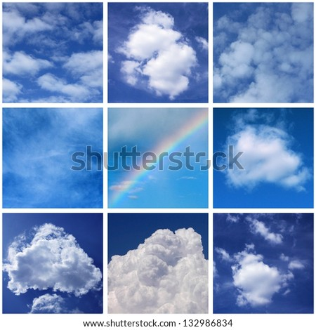 collage with photos of clouds #132986834
