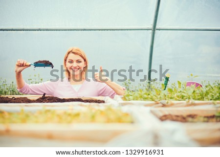 Smiling florist in pink cardigan standing behind boxes with plants in greenhouse. Blond woman holding small gardening spade full of soil in her hand. #1329916931