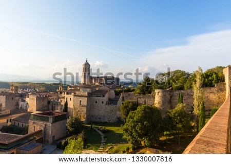 The medieval quarter of Gerona with bell tower of Santa Maria cathedral in background. View from The Forca Vella. Gerona, Costa Brava, Catalonia, Spain. #1330007816