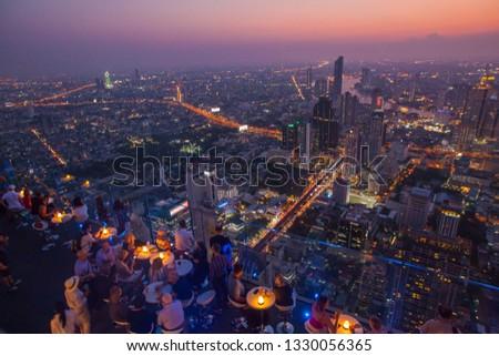2019,March,1,Bangkok,Thailand, View of Bangkok city from King power mahanakhon building in the evening #1330056365