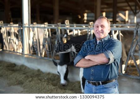 Portrait of confident senior man owner of dairy farm #1330094375
