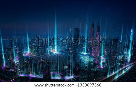 Modern abstract cityscape and network connection concept . #1330097360