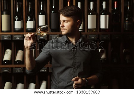 Sommelier looks at white wine in glass in cellar #1330139609