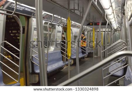 New York City, NY/ USA: 2-28-19- New York City Empty Subway Train NYC MTA Worker #1330324898