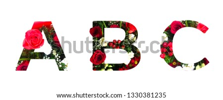 ABC Floral font, alphabet from roses, other flowers and green leaves on white background. Perfect for spring/summer sale announcements, ads, promotions, women's day and other holiday postcards texts #1330381235