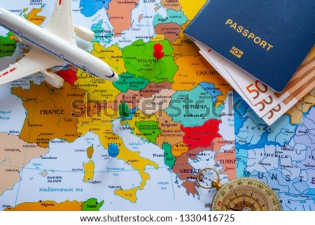 Map of europe with passport and compass for travel. #1330416725