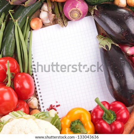 organic vegetables with notebook #133043636