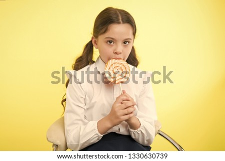 healthy eating. healthy eating and dieting concept. girl dont like healthy eating. healthy eating of little girl with lollipop. enjoying life. #1330630739