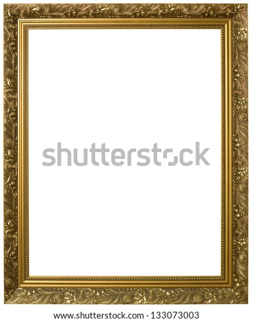 Antique Golden Frame Isolated with Clipping Path