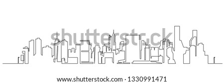 Modern cityscape continuous one line vector drawing. Metropolis architecture panoramic landscape. New York skyscrapers hand drawn silhouette. Apartment buildings isolated minimalistic illustration Royalty-Free Stock Photo #1330991471