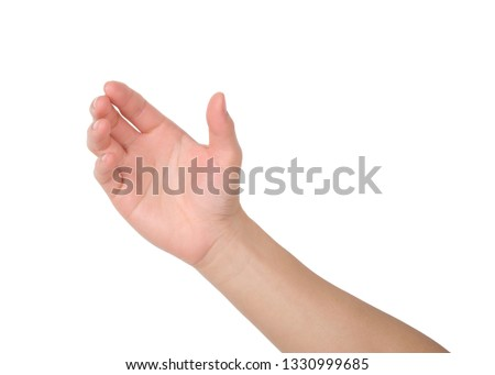 Hands holding something on white background, Hand isolated with clipping path. #1330999685