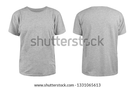 Men's grey blank T-shirt template,from two sides, natural shape on invisible mannequin, for your design mockup for print, isolated on white background. Royalty-Free Stock Photo #1331065613