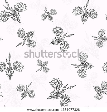 Abstract seamless pattern. Casual  flower wallpaper design element.Monochrome hand drawn texture with flower.  #1331077328