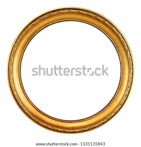 round antique empty picture frame with clipping path #1331135843