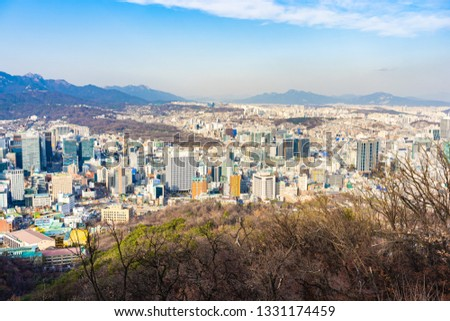 Beautiful landscape and cityscape with architecture and building in Seoul city South Korea #1331174459