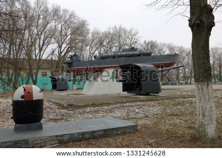Baltiysk, Russia - February 23, 2019: Monument to the torpedo boat. Monument of architecture of municipal value. Established in 1970 #1331245628