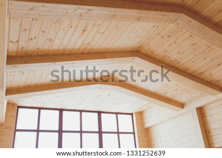 wide wooden dressing room, interior of a modern house. #1331252639