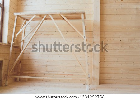 wide wooden dressing room, interior of a modern house. #1331252756