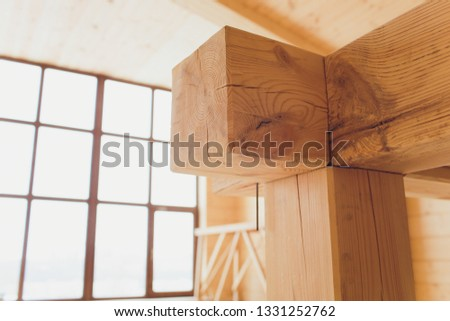 wide wooden dressing room, interior of a modern house. #1331252762
