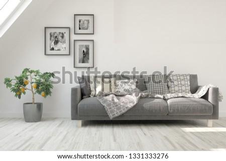 White stylish minimalist room with sofa. Scandinavian interior design. 3D illustration #1331333276