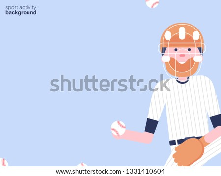 Vector Illustration. Baseball cartoon character in flat style. Baseball player with glove and ball in helmet. Sport activity background with ball #1331410604