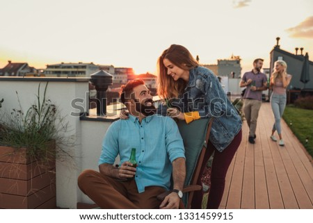 Friends spending day off at the rooftop #1331459915