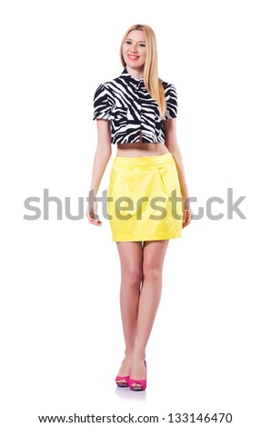 Tall model isolated on the white #133146470