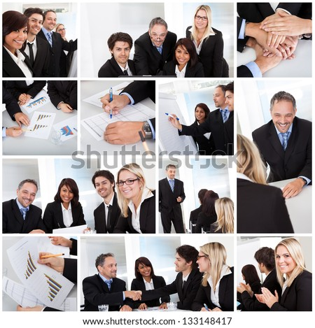 Set of various business images in the office #133148417