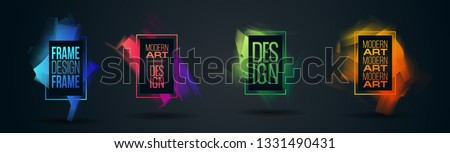 vector illustration. Stylish modern colorful paint streaks. Hipster frames. hand-drawn modern art design, graphic design for posters, flyers, booklets, covers. #1331490431